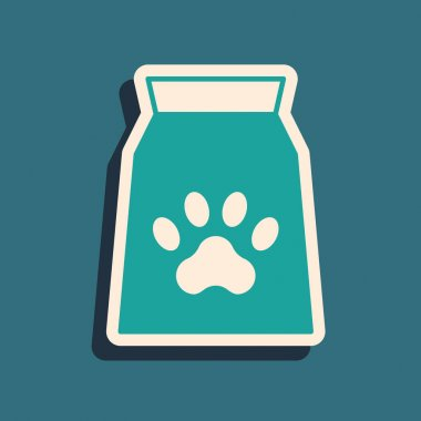 Green Bag of food for pet icon isolated on green background. Food for animals. Dog bone sign. Pet food package. Long shadow style. Vector icon