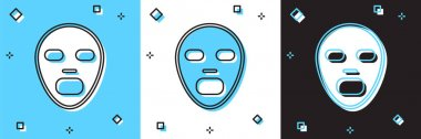 Set Facial cosmetic mask icon isolated on blue and white, black background. Cosmetology, medicine and health care.  Vector icon