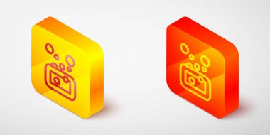 Isometric line Bar of soap icon isolated on grey background. Soap bar with bubbles. Yellow and orange square button. Vector icon