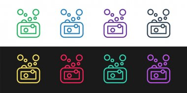 Set line Bar of soap icon isolated on black and white background. Soap bar with bubbles.  Vector icon