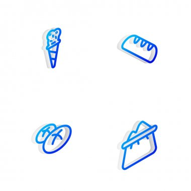 Set Isometric line French baguette bread, Ice cream in waffle cone, Bread loaf and Bag of flour icon. Vector icon
