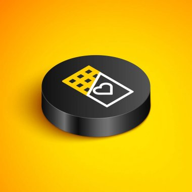 Isometric line Chocolate bar icon isolated on yellow background. Valentines day symbol. Black circle button. Vector icon