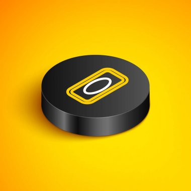 Isometric line Bar of soap icon isolated on yellow background. Soap bar with bubbles. Black circle button. Vector icon