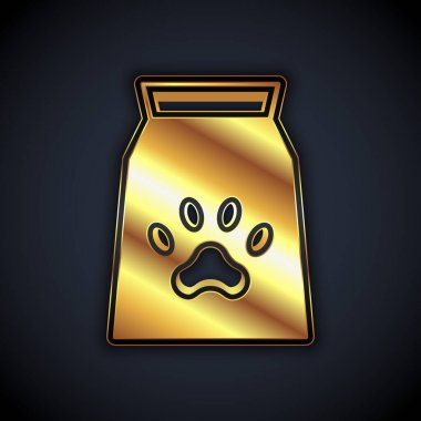 Gold Bag of food for pet icon isolated on black background. Food for animals. Dog bone sign. Pet food package.  Vector icon