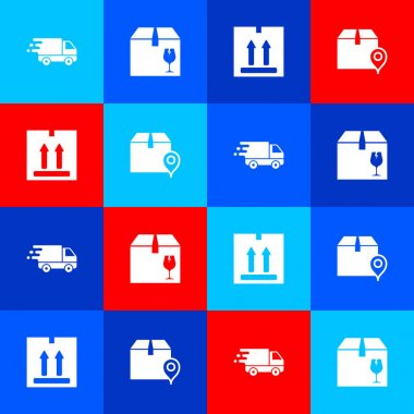 Set Delivery truck in movement, box with fragile content, Cardboard traffic and Location cardboard icon. Vector. icon