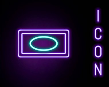 Glowing neon line Bar of soap icon isolated on black background. Soap bar with bubbles. Colorful outline concept. Vector icon