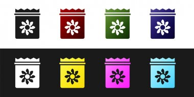 Set Pack full of seeds of a specific plant icon isolated on black and white background.  Vector icon