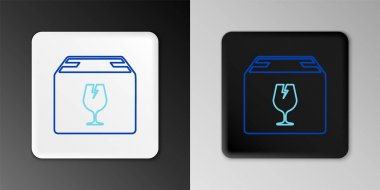 Line Delivery package box with fragile content symbol of broken glass icon isolated on grey background. Box, package, parcel sign. Colorful outline concept. Vector icon