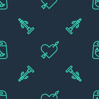 Set line Amour with heart and arrow, Street light and Croissant package on seamless pattern. Vector icon