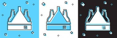 Set Pack of beer bottles icon isolated on blue and white, black background. Case crate beer box sign.  Vector icon