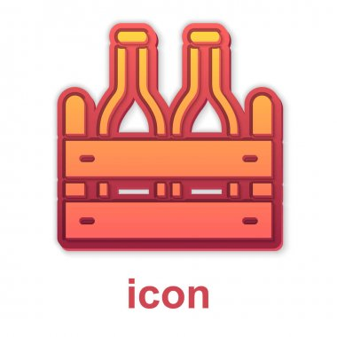 Gold Pack of beer bottles icon isolated on white background. Wooden box and beer bottles. Case crate beer box sign.  Vector icon
