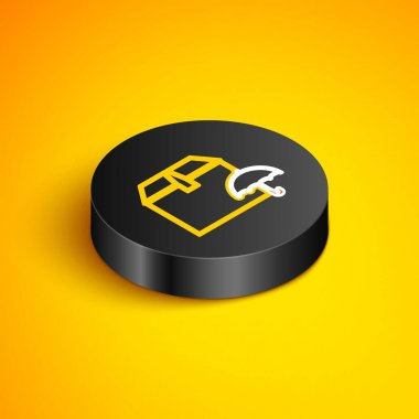 Isometric line Delivery package with umbrella symbol icon isolated on yellow background. Parcel cardboard box with umbrella sign. Logistic and delivery. Black circle button. Vector icon