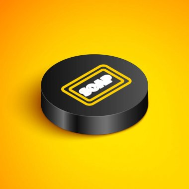 Isometric line Bar of soap with foam icon isolated on yellow background. Soap bar with bubbles. Black circle button. Vector icon