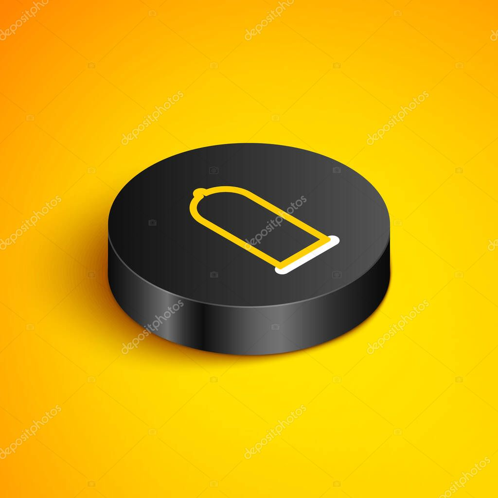 Isometric line Condom safe sex icon isolated on yellow background icon