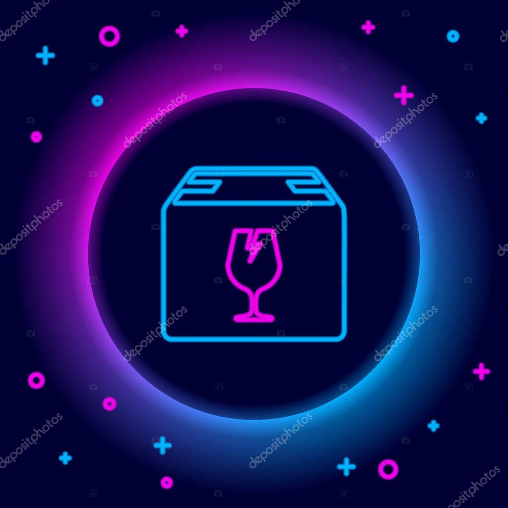 Glowing neon line Delivery package box with fragile content symbol of broken glass icon isolated on black background icon