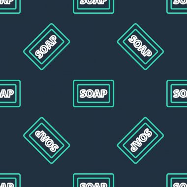 Line Bar of soap icon isolated seamless pattern on black background. Soap bar with bubbles.  Vector icon