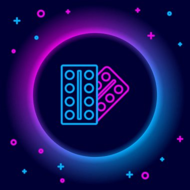 Glowing neon line Pills in blister pack icon isolated on black background. Medical drug package for tablet, vitamin, antibiotic, aspirin. Colorful outline concept. Vector icon