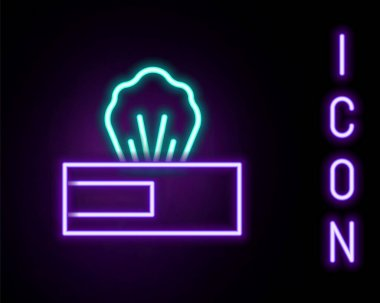 Glowing neon line Wet wipe pack icon isolated on black background. Colorful outline concept. Vector icon