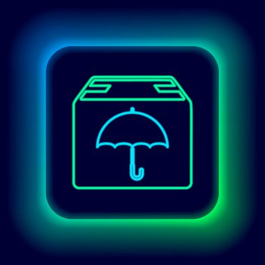 Glowing neon line Delivery package with umbrella symbol icon isolated on black background. Parcel cardboard box with umbrella sign. Logistic and delivery. Colorful outline concept. Vector icon