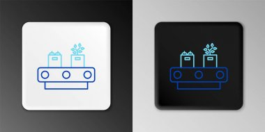 Line Conveyor belt with cardboard box icon isolated on grey background. Colorful outline concept. Vector icon
