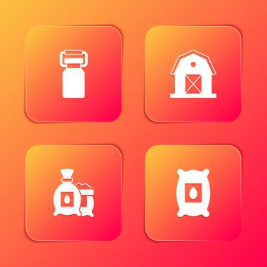 Set Can container for milk, Farm house, Pack full of seeds of plant and  icon. Vector icon