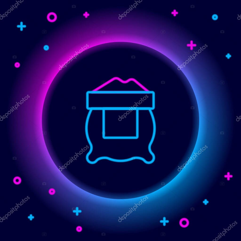 Glowing neon line Bag of flour icon isolated on black background icon