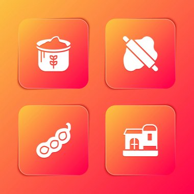 Set Bag of flour, Rolling pin on dough, Green peas and Farm house icon. Vector icon