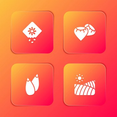 Set Pack full of seeds of plant, Seed,  and Agriculture wheat field icon. Vector icon