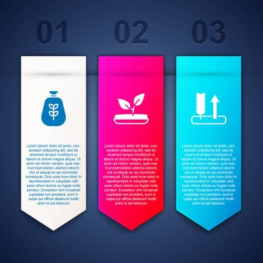Set Bag of flour, Sprout and Wheat. Business infographic template. Vector icon