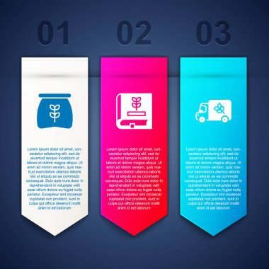 Set Bag of flour, Book about seeds and Flour truck. Business infographic template. Vector icon
