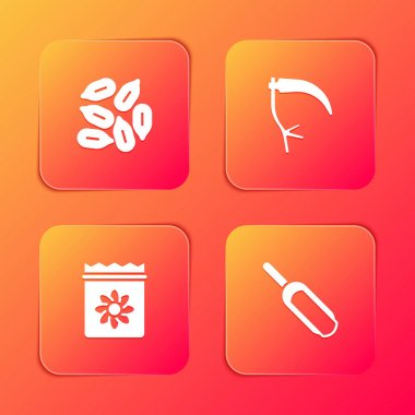 Set Seed, Scythe, Pack full of seeds of plant and Scoop flour icon. Vector icon