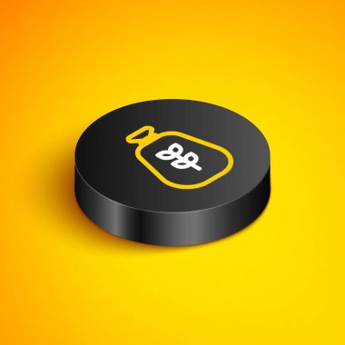 Isometric line Bag of flour icon isolated on yellow background. Black circle button. Vector icon