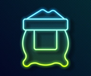 Glowing neon line Bag of flour icon isolated on black background.  Vector icon
