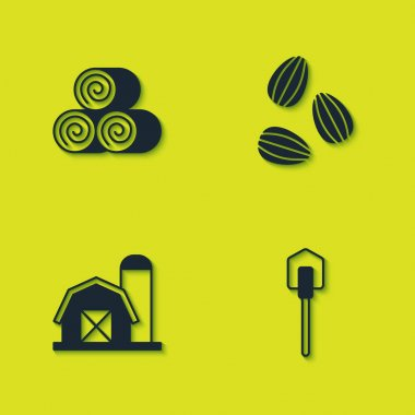 Set Roll of hay, Shovel, Farm house and Seeds icon. Vector icon