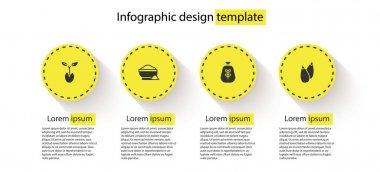 Set Sprout, Flour bowl, Bag of flour and Seed. Business infographic template. Vector icon