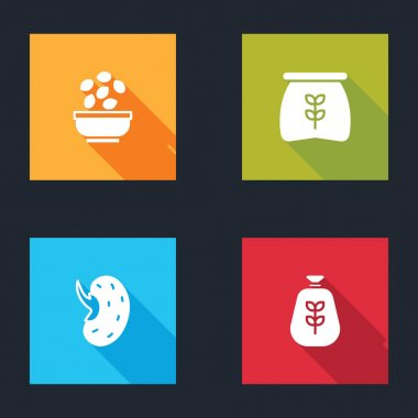Set Seeds in bowl, Bag of flour,  and  icon. Vector icon