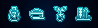 Set line Bag of flour, Flour bowl, Sprout and Wheat. Glowing neon icon. Vector icon