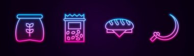 Set line Bag of flour, Pack full seeds plant, Bread loaf and Sickle. Glowing neon icon. Vector icon