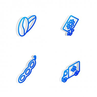 Set Isometric line Pack full of seeds of plant, Coffee beans, Green peas and Flour truck icon. Vector icon