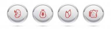 Set line Seed, Bag of flour,  and Measuring cup. Silver circle button. Vector icon