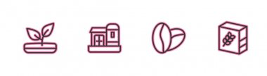 Set line Sprout, Coffee beans, Farm house and Flour pack icon. Vector icon