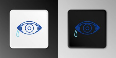 Line Reddish eye due to viral, bacterial or allergic conjunctivitis icon isolated on grey background. Colorful outline concept. Vector