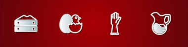Set Bag of flour, Little chick in cracked egg, Rubber gloves and Jug glass with milk icon. Vector icon