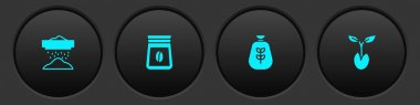 Set Sifting flour, Bag of coffee beans,  and Sprout icon. Vector icon