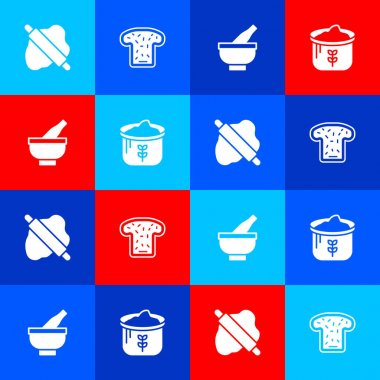 Set Rolling pin on dough, Bread toast, Mortar and pestle and Bag of flour icon. Vector icon