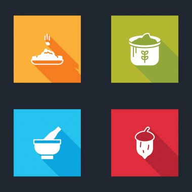 Set Seed, Bag of flour, Mortar and pestle and Acorn, oak nut, seed icon. Vector icon