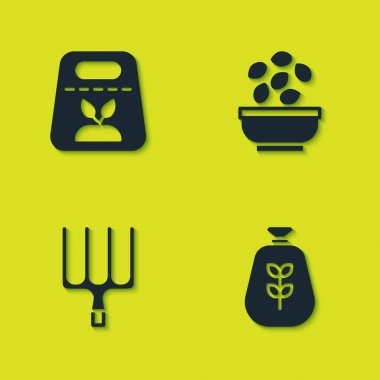 Set Pack full of seeds of plant, Bag flour, Garden pitchfork and Seeds in bowl icon. Vector icon