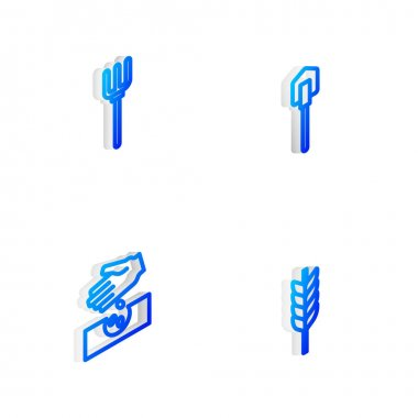 Set Isometric line Shovel, Garden pitchfork, Seeds and Wheat icon. Vector icon