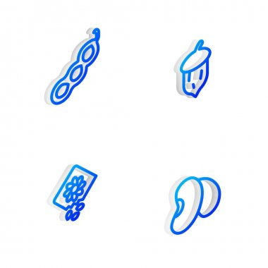Set Isometric line Acorn, oak nut, seed, Green peas, Pack full of seeds of plant and Beans icon. Vector icon