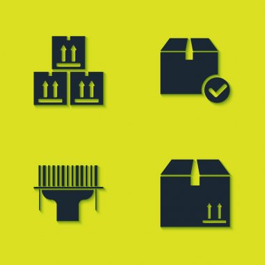 Set Cardboard box with traffic, , Scanner scanning bar code and Package check mark icon. Vector. icon